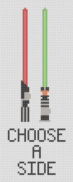 Star Wars - Choose a Side Cross Stitch PDF Pattern - Geek , Lightsabers Darth Vader and Luke. $2.00, via Etsy.