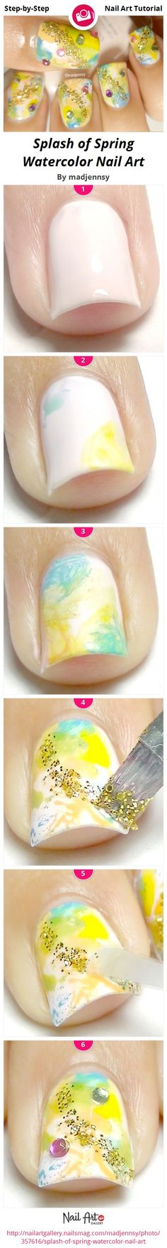 Splash of Spring Watercolor Nail Art by madjennsy from Nail Art Gallery