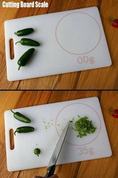 Cutting board weighing scale; so handy! {design concept by Jess Griffin and Jim Termeer}