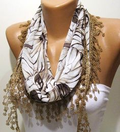 Light Brown and Elegance Shawl / Scarf with Lace by SwedishShop, $13.90