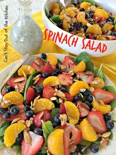 Spinach Salad | Can't Stay Out of the Kitchen - amazing #spinach #salad with lots of #fruit. This one has a homemade #poppyseeddressing. #glutenfree #vegan #almonds