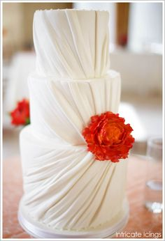 pleated wedding cake