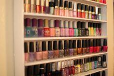 DIY nail polish storage racks