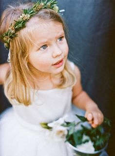 A green leaf crown + tin pail = flower girl summer wedding perfection