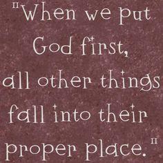 Put God first!