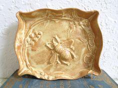 Ceramic Honey Bee Soap Dish or Trinket Dish with Garden Flowers Handmade Pottery. MyMothersGarden soap dish, honey bees, bee soap