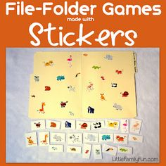 File Folder Games made with Stickers famili fun, activities for kids, file folder games, boxes, sticker, family fun games, educ, families, file folders