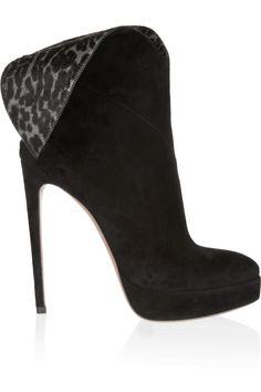 Alaïa leopard calf hair-paneled suede ankle boots