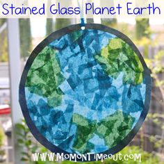 Stained Glass Planet Earth | Mom On Timeout   A fun Earth day craft for kids! craft art, glass planet, craft projects, earth day crafts, stain glass, preschool crafts, planet earth, stained glass, kid