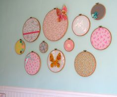 The Watercolor Nursery - #embroidery #hoops for the #nursery wall