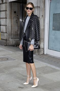 For the Osman show, Olivia brought major edge in sleek, all-black separates.