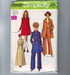 1960s Vintage Sewing Pattern Simplicity 8502 Misses Mini Maxi Coat Pants Double Breasted Jacket Size 10 Bust 32 1/2 UNCUT 1969 60s. $8.00, via Etsy.