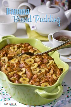 Banana Bread Pudding made with Croissants | ExploreAsheville.com #breadpudding #recipe #holidays