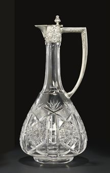 A SILVER-MOUNTED CUT-GLASS WINE JUG MARK OF THE 15TH ARTEL, MOSCOW, 1908-1917