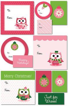 Owl Christmas Gift Tags Printables