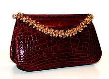 RARE! Judith Leiber Crocodile Burgundy Evening Bagetts Crystal Gold Handbag
