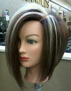 highlights/Dark hair ColorSync RB/Asymmetrical inverted bob. This cut ...