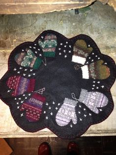 Primitive handmade felted wool mittens candle by PasthymeTreasures, $32.00