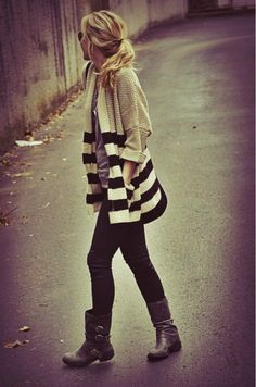 .To me, stripes and polkadots add instant vintage to any outfit. Just make them look classy and not childish. For example: Fall weather should have a cardi (like the one above) mixed with leggings and boots. For the summer, just trade the leggings and boots for shorts and flats and it's an instant adorable outfit..