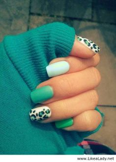 Beautiful blue nails with leopard print
