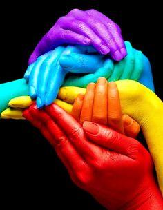 Hands rainbow color pop