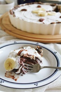Vegan chocolate banana pie with coconut whipped cream