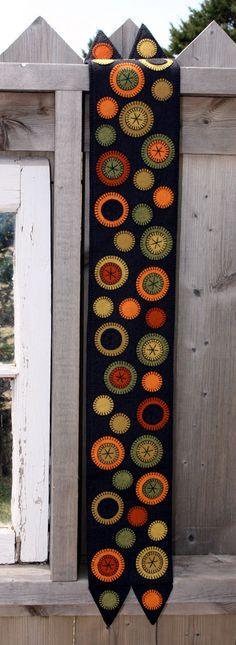 Pumpkin Patch Penny Rug Wool Felt Finished Design - orange, thanksgiving, fall autumn, ofg, canteam, handmade on Etsy, $114.50