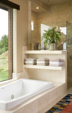 window bathtub view, bathtub and shower in same room but separate, shower glass