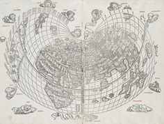 Antique World Map with Illustrations
