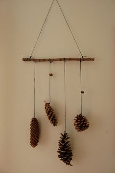 Pine cone mobile: Autumn crafting for kids