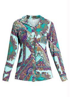 Camisa Feminina com Estampa de Lenço - Posthaus $39.99