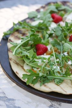 Pear and Arugula Grilled Pizza
