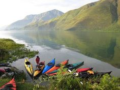 Canoing - Toba Lake, North Sumatra, Indonesia.