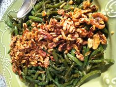Sautéed Green Beans with Garlic and Walnuts is   So simple, So good, and So pretty – the perfect side dish for your table, Christmas or not!