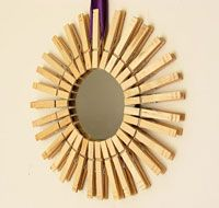 clothespin crafts, starburst mirror, laundry rooms, dollar store crafts, clothespin mirror
