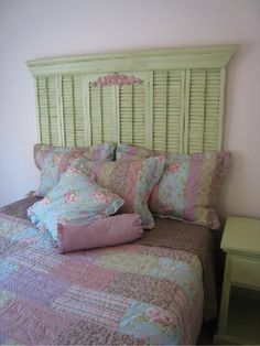 old shutters for a headboard