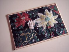 Quilted Fabric Postcard  Christmas Fabric Postcard by Fiberartplus, $8.95