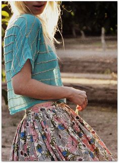 blue top + pink floral skirt.