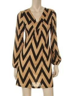 Chevron Print 3/4 Sleeve Dress in Beige - $39.99 : FashionCupcake, Designer Clothing, Accessories, and Gifts