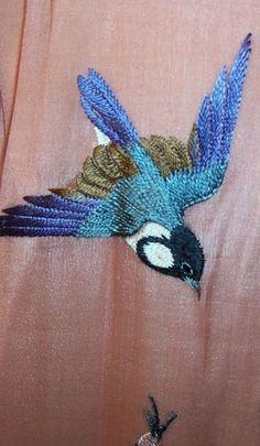 Flying bird embroidery bluebird, embroid bird, bird embroidery, bird embroideri, blue bird