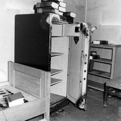 A ruined, empty safe inside Hitler's bunker, April 1945.