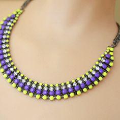 neon jewelry painted rhinestone necklace purple yellow