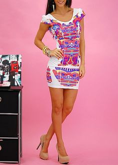 Clothing for Less Bodycon Dress With Aztec Print