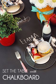 chalkboard table - perfect for a back to school celebration!