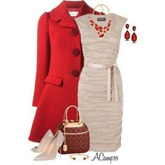 Color combo: red winter coat and tan dress/shoes
