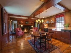 Colonial kitchen with fireplace