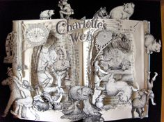 Charlotte's Web book sculpture by Kelly Campbell Berry