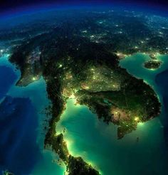 A beautiful bird's eye view of Thailand at night #photo