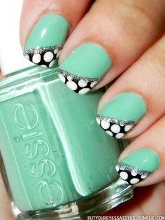 polka dots, nail design short nails, nail designs, short nail design, mint