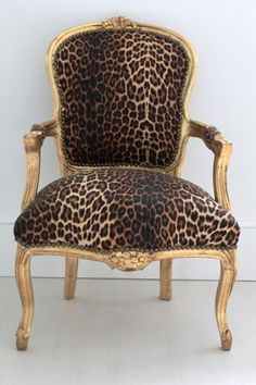 Gilt leaf chair with leopard upholstery  ♫ La-la-la Bonne vie ♪